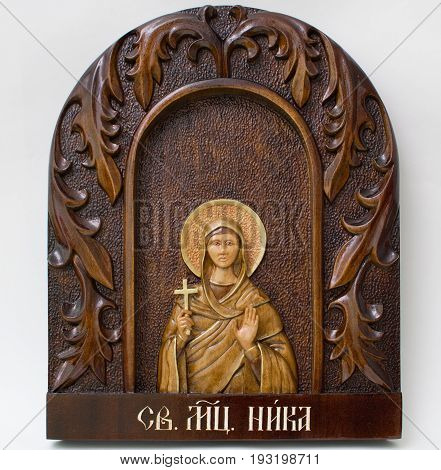 Carved icon from wood handmade. Holy Nicka.