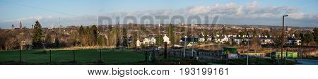 MAASTRICHT NETHERLANDS - JANUARY 16 2016: Panoramic view of the city and surrounding area. Maastricht is the oldest city of the Netherlands and the capital city of the province of Limburg.