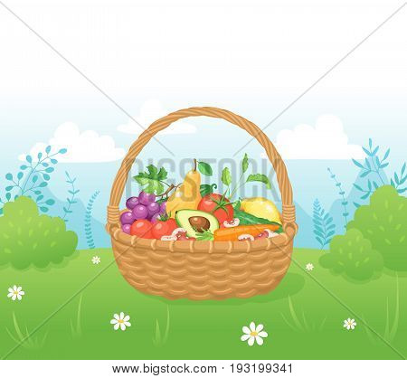 Bamboo basket with natural and organic food. Picnic basket with vegetables and fruits on grass. Healthy living concept.