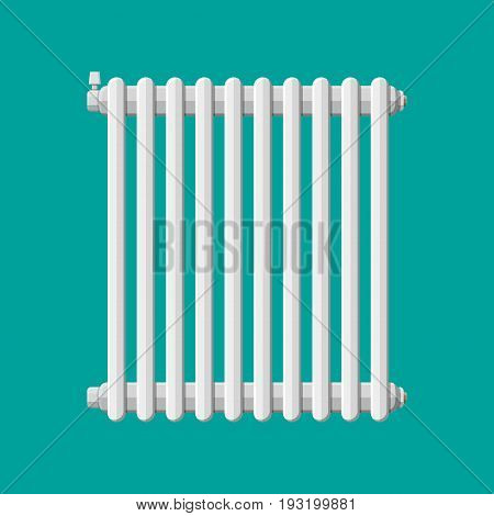 Heating radiator. Retro heating system. Vector illustration in flat style
