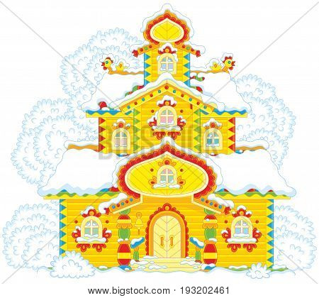 Colorfully decorated wooden tower covered with snow on Christmas