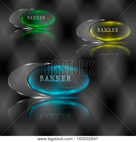 Set of different illuminated splinter banners. Vector illustration.
