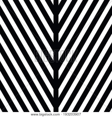 Decorative ornament, figurative design template with striped black white triangles. Background, texture with optical illusion effect. Decor for card tile textile parquet wall. Vector seamless pattern.