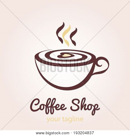 A cup of coffee with foam in the form of heart with steam. Vector logo template for cafe restaurant menu coffee shop. Icon of coffee cup.