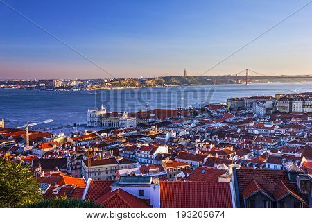 Lisbon city, Portugal. Tagus River sunset view