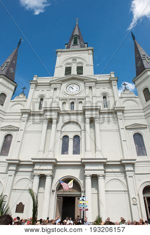 NEW ORLEANS, LA - APRIL 13: View of Beautiful architecture of Cathedral Basilica of Saint Louis in Jackson Square, New Orleans, LA on April 13, 2014