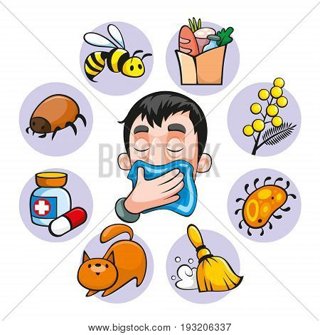 Cartoon colorful allergy set with insect medical food bee plant dust animal allergens isolated vector illustration
