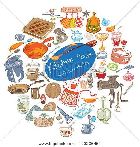 Colorful doodle kitchen tools concept with tableware cutlery utensil condiments and equipment in circle isolated vector illustration