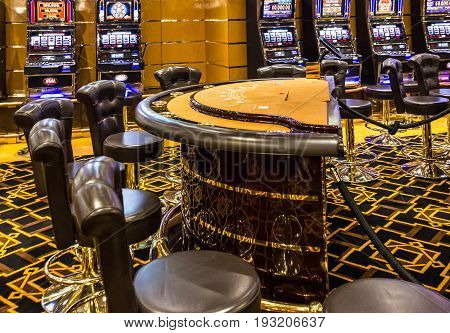 CRUISE SHIP SPLENDIDA - MARCH 30, 2017: Gaming slot machines in gambling casino Cruise liner Splendida