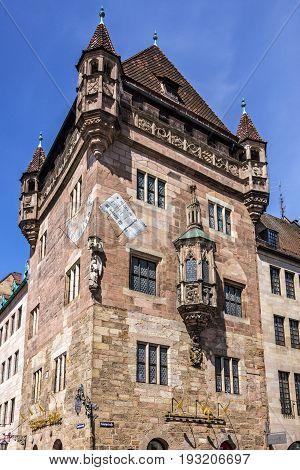 Nuremberg, Germaqny - May 23, 2017: Nuremberg historical house, Bavaria, Germany