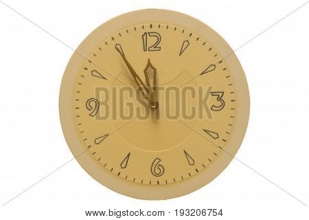The clock face and hands at five to twelve on a white background.