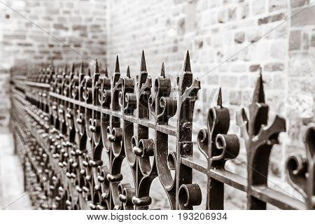 The beautiful wrought iron fence. Background. Sepia stylization.