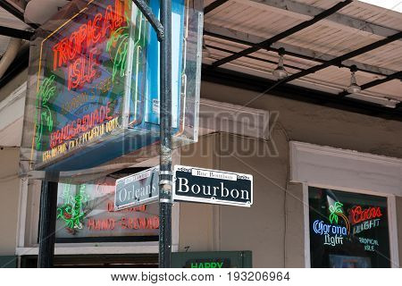 NEW ORLEANS, LA - APRIL 13: View of Bourbon and Orleans Street sign in the French Quarter of New Orleans, Louisiana on April 13, 2014