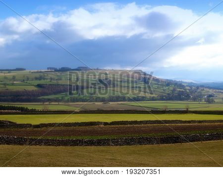 Traditional farmland in the English Yorkshire Dales