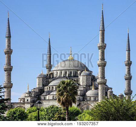 Istanbul city, Turkey. Blue mosque Sultanahmet building