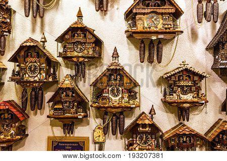 Munich, Germany - May 7, 2017: Clock. Vintage cuckoo clocks in shop Bavaria, Munich, Germany