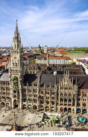 Munich, Germany - June 12, 2017: Marienplatz town hall of Munich, Germany