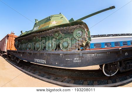 Samara Russia - April 29 2017: Old soviet military tank on the railway platform