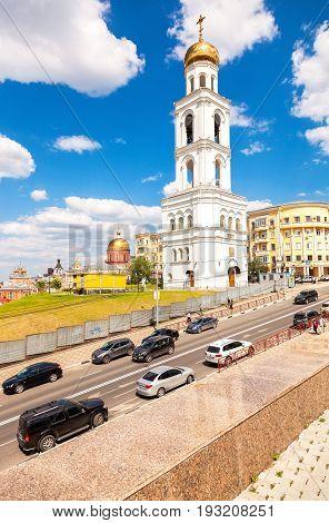 Samara Russia - June 12 2016: View on belltower of Iversky monastery in Samara against the blue sky in summer day