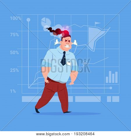 Angry Business Man Negative Emotion Concept Failure Problem Flat Vector Illustration