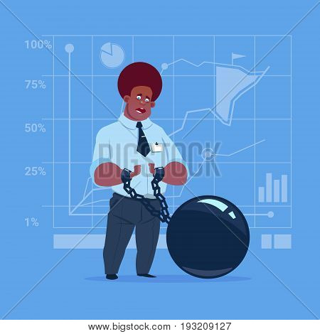 African American Business Man Chain Bound Hands Credit Debt Finance Crisis Concept Flat Vector Illustration