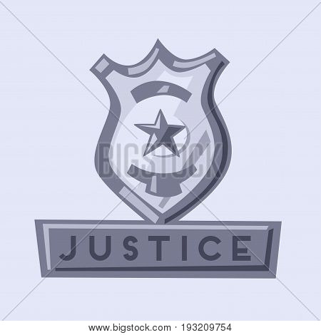 Police badge and weapon. Cartoon vector illustration. Police departament