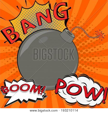 pop art bomb pow bang boom with speech bubble design.