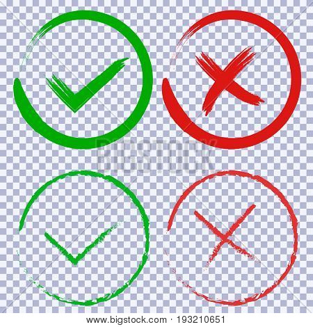 Tick and cross brush signs. Green checkmark OK and red X icons. Simple marks graphic design. Symbols YES and NO button for vote, decision, web. Vector illustration