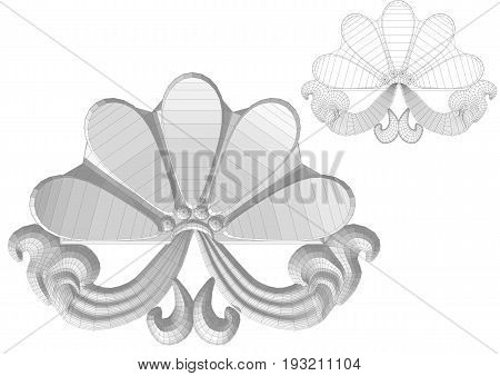 Carved flower isolated on a white background