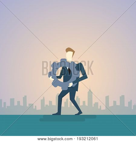 Business Man Hold Cog Wheel Ponder Think Strategy Concept Flat Vector Illustration