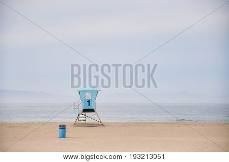 Lifeguard post at Pacific coast, tranquil morning