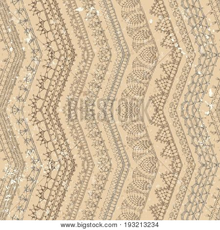 Vector Retro Crochet Seamless Pattern.
