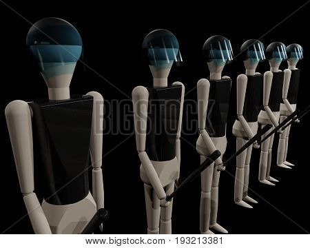 police men with heavy armor and batons (3D-Rendering with wooden dolls)