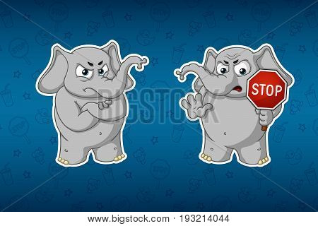 Stickers elephants. Stop sign, holds in hands. Warning. Big set of stickers. Vector, cartoon