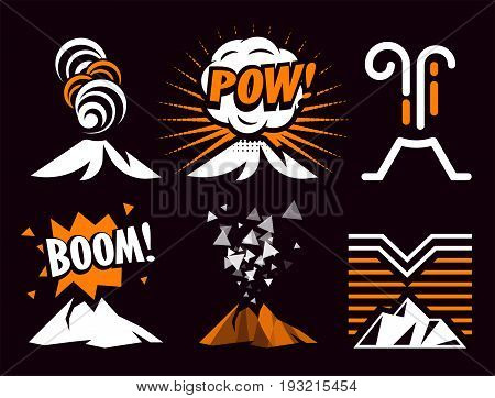 Volcano magma eruptio icon collection. Spectacular natural phenomenon painted in cartoon style set. Volcanic toxic clouds and mountain logo. Graphic anger metaphor illustration