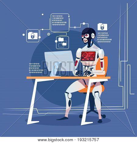 Modern Robot Computer Hacker Attack Futuristic Artificial Intelligence Technology Concept Flat Vector Illustration