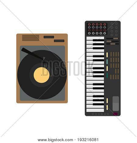Cartoon musical Instrument set. Gramophone, synthesizer. Illustration vector flat icon EPS 10.
