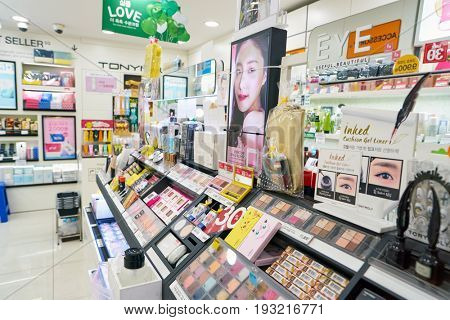 SEOUL, SOUTH KOREA - CIRCA MAY, 2017: goods on display at Tony Moly shop in Seoul. Tony Moly is a South Korean cosmetics brand