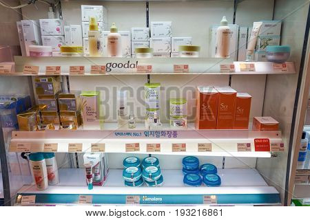 SEOUL, SOUTH KOREA - CIRCA MAY, 2017: goods on display at Watsons store in Seoul. Watsons Personal Care Stores is the largest health care and beauty care chain store in Asia.