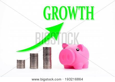 Piggy bank with coin stacks - concept of GROWTH