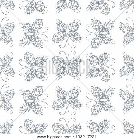Seamless pattern. Doodles ornate butterflies. Boundless duotone hand-drawn background.