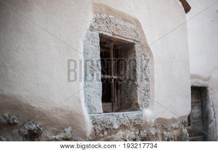 Antique window in Mediterranean old town city