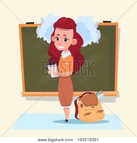 Small School Girl Standing Over Class Board Schoolgirl Education Banner Flat Vector Illustration