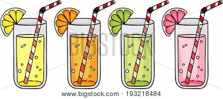 Scalable vectorial image representing a fresh orange, grapefruit, lemon and lime juice citrus fruits, isolated on white.