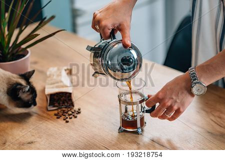 French Press Coffee, Close Up Image, Toned Image, Selective Focus