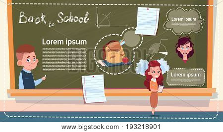 Back To School Small Girl And Boy Standing Over Class Board Schoolgirl And Schoolboy Education Infographic Banner Flat Vector Illustration