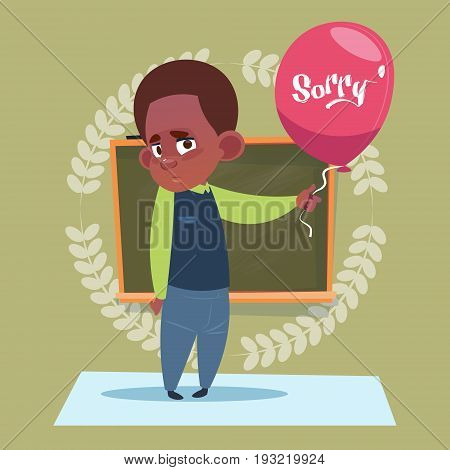 Small School Boy Sorry Standing Over Class Board Schoolboy Education Banner Flat Vector Illustration