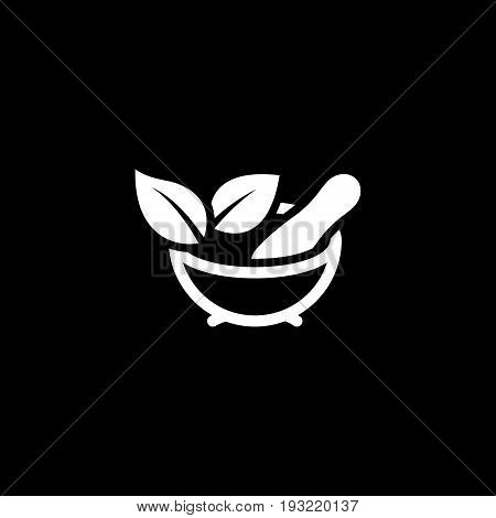 Phytotherapy Icon with Leaves. Flat Design. Isolated