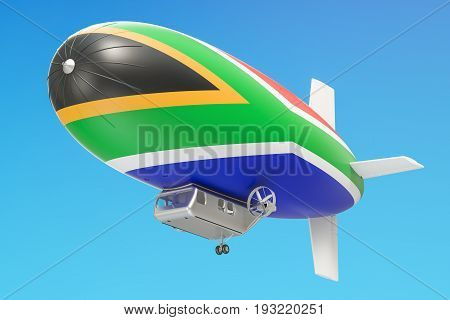 Airship or dirigible balloon with South Africa flag 3D rendering isolated on white background