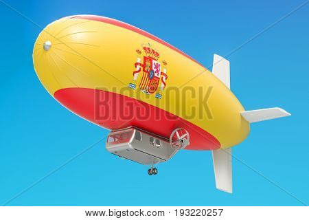 Airship or dirigible balloon with Spanish flag 3D rendering isolated on white background